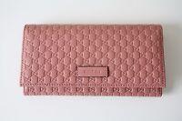 GUCCI 449396 Geldbörse/Portemonnaie Monogramm rose Leder Wallet