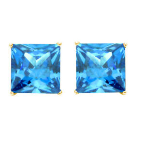 Princess Cut Simulated Blue Solitaire Stud Earrings in 10K Yellow Gold