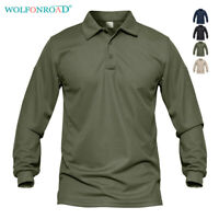 Mens Long Sleeve Polo Shirts Golf Fishing Hiking T-shirts Military Sport Shirts