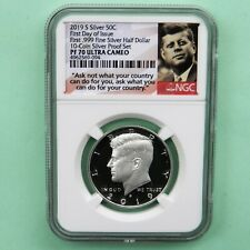 2019 S First.999 Fine Silver Kennedy Half Dollar FIRST DAY OF ISSUE NGC PF 70 UC