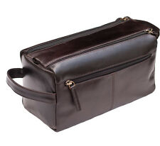 NEW -  Prime Hide Mens Dark Brown Leather Wash Bag Toiletry Bag - 917