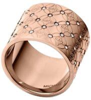 Michael Kors Heritage Monogram Ring Rose Gold Size 8 MKJ42897918 new