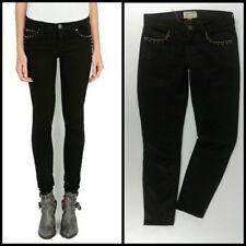 CURRENT ELLIOTT Jeans 27 STILETTO curvy skinny BLACK DESTROYED studs