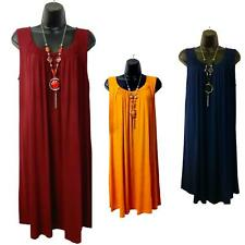 Ladies Oversized Necklace Dress Sleeveless Long Top Maxi Shirt Tunic Plus Size