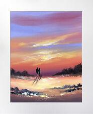 SARAH FEATHERSTONE, ORIGINAL ART WATERCOLOUR PAINTING,MOUNT, SUNSET SKY, WALK,UK