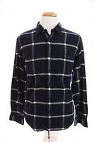 J Crew Slim Fit Flannel Mens Button Down Front Shirt Plaid Navy Blue White Sz L