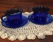 J1~Arcoroc France Cobalt Blue Saphir, set 2, glass Flat cup & Saucer