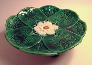 19C Antique Majolica Pond Water Lily Pad Compote Cake Stand Stork Feet EXCELLENT