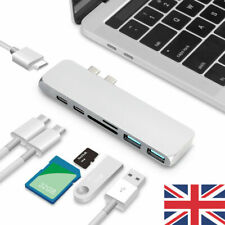UK Silver 7in1 USB-C Hub Dual Adapter Card Reader 4K HDMI Type-C For MacBook Pro