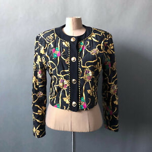 Vintage 90s Quilted Vers^ce Style Jacket Gold Buttons Black Yellow Escada Chic S