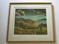 VINTAGE THOMAS MCKNIGHT LITHOGRAPH ARTIST PROOF SIGNED SURREALISM WHIMSICAL MOD
