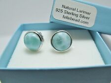 100% Natural Dominican 8mm Larimar  925 Sterling Silver Stud Earrings