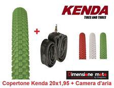"""1 Copertone """"KENDA"""" 20x1,95 K-RAD Verde + Camera d'aria per Bici 20"""" Pieghevole"""