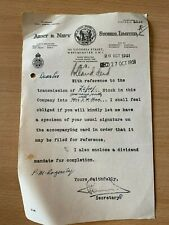 26 OCT 1951 ARMY & NAVY STORES LIMITED VINTAGE STOCK INVESTMENT LETTER