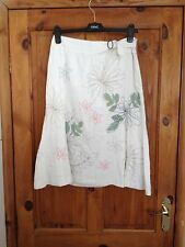 Next Womens Linen Mix White Embroidered Flared Skirt Size 10