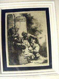 Harmensz van Rijn Rembrandt etching (original) Joseph's Coat Brought to Joseph