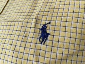 RALPH LAUREN Men's Yellow Checked Classic Short Sleeve Dress Shirt Size Small **