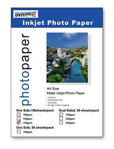 100 SHEETS MATT A4 PHOTO PRINTING PAPER 135gsm COLOUR INKJET MATTE HIGH QUALITY