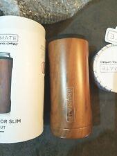 New listing Brumate Hopsulator Slim Can Cooler Tumbler 12 oz Drink Holder Walnut Wood