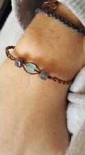 polished cotton cord glass bead plait bracelet grey/turquoise