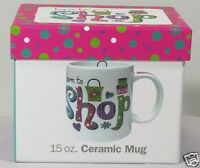 Ceramic Coffee Tea Mug Born to Shop Shopaholic Shopping Lover 15oz with Gift Box