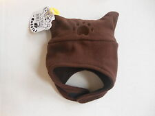 New Infant Brown Bear Fleece Chinstrap Cap Hat 6-18 Month Bearhands and Buddies