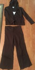 r-CLOTHES MATERNITY JOGGING SUIT BROWN 100% COTTON 2 PIECE LOOKS GREAT