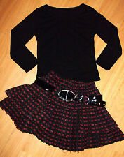 GIRLS BLACK TOP & RED CHECK PATTERN LAYER RUFFLE PARTY SKATER SKIRT age 3-4