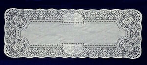 """Classic 13.5"""" x 36.5"""" Canterbury Lace Table Runner White Den Livingroom"""
