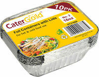 Catering and Storage Aluminium Foil Containers with Lids 16oz 10PK