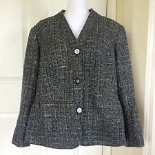 Lafayette 148 Black Metallic Tweed Career​ Jacket / Wool Blazer Women's Sz 16