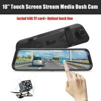 10'' Stream Media 1080P Dash Cam Dual Lens FHD Car DVR Rearview Mirror