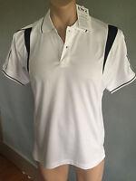 BNWT Mens Sz L Ladies Sz 18 LW Reid White/Black Short Sleeve Panel Polo Top