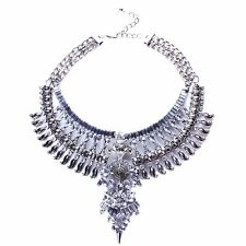 Antique Silver Baroque Retro Faceted Rhinestone Festoon Necklace