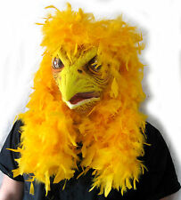 Giant Super Chicken Feathered Funny Bird Moving Mouth Adult Halloween Latex Mask