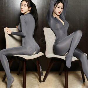 Sexy Zip Front & Crotch Stretchy Bodysuit Sheer Shiny Catsuit Nightclub Jumpsuit