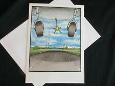 "The FAR SIDE 1984 Vintage Card BLANK INSIDE  -- ""Frog Stuck To Airplane"""