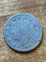 """FREE SHIP! 1912 Liberty Head Nickel - """"V"""" Nickel -100 + Year Old US Type Coin L2"""