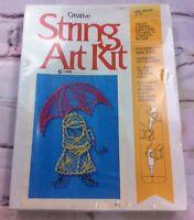 String Art Craft Kit Vintage Sealed Umbrella Girl Dancing Rain 8 x 12 USA made