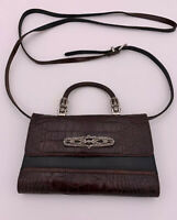 Brighton Croc Embossed Mahogany Black Leather Wallet Purse Cross Body Organizer