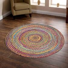 4x4 Feet Round Cotton Jute Rug Braided Ethnic Rugs Reversible Floor Mat