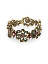 NEW Heidi Daus Paint Me A Picture Swarvoski Crystal Gold-Tone Bracelet Floral