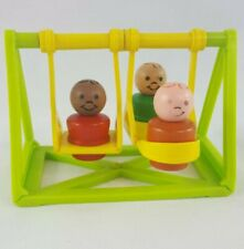 Vintage Fischer Price Little People Schoolhouse Swing Set With 3 Happy Boys F1