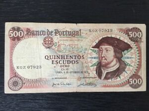 Portugal 500 Escudos Banknote-1979 Paper Money Rare Old Vintage