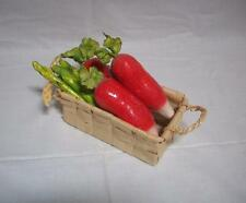 Basket of Paper Mache Veggies - Asparagus and Icicle Radishes - Vibrant Colors