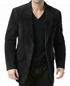 Men's Real Leather Blazer Coat Genuine Suede leather Classic TWO BUTTON Jacket