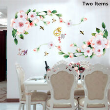 White Rich Flowers Room Home Decor Removable Wall Stickers Decals Decoration
