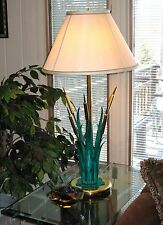 "Vtg BANCI of Firenze Italy- ""CATTAILS"" LAMP BASE- Distressed Ptd Iron+Brass- EUC"