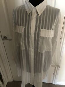 Nast Gal White/Gold Striped Longline Blouse Size 14 NWT