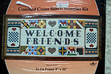 "PARAGON NEEDLECRAFT Counted Cross Stitch Kit WELCOME FRIENDS, 9"" x 12"" Country"